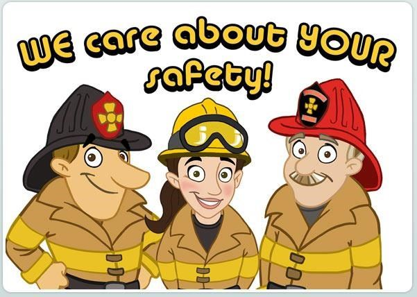 Three cartoon firefighters